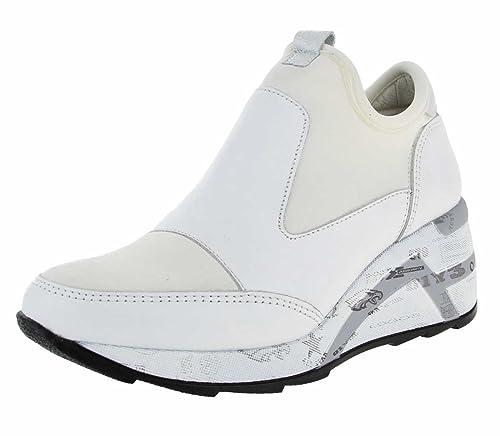 Cetti Zapatillas de Cuero y Tela Para Mujer Blanco Blanco: Amazon.es: Zapatos y complementos
