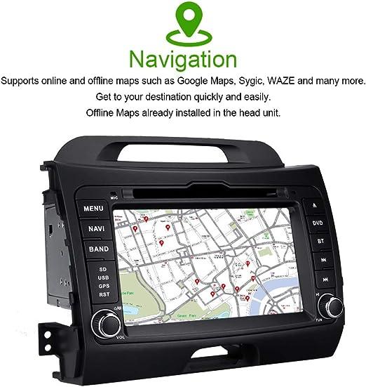 GPS para Kia Sportage 3 4 2011-2016 Doble DIN Car Stereo 9de Pantalla t/áctil Llamadas Multimedia del Jugador Bluetooth Manos Libres Espejo de Control Am//FM Receptor de Radio Dab SWC