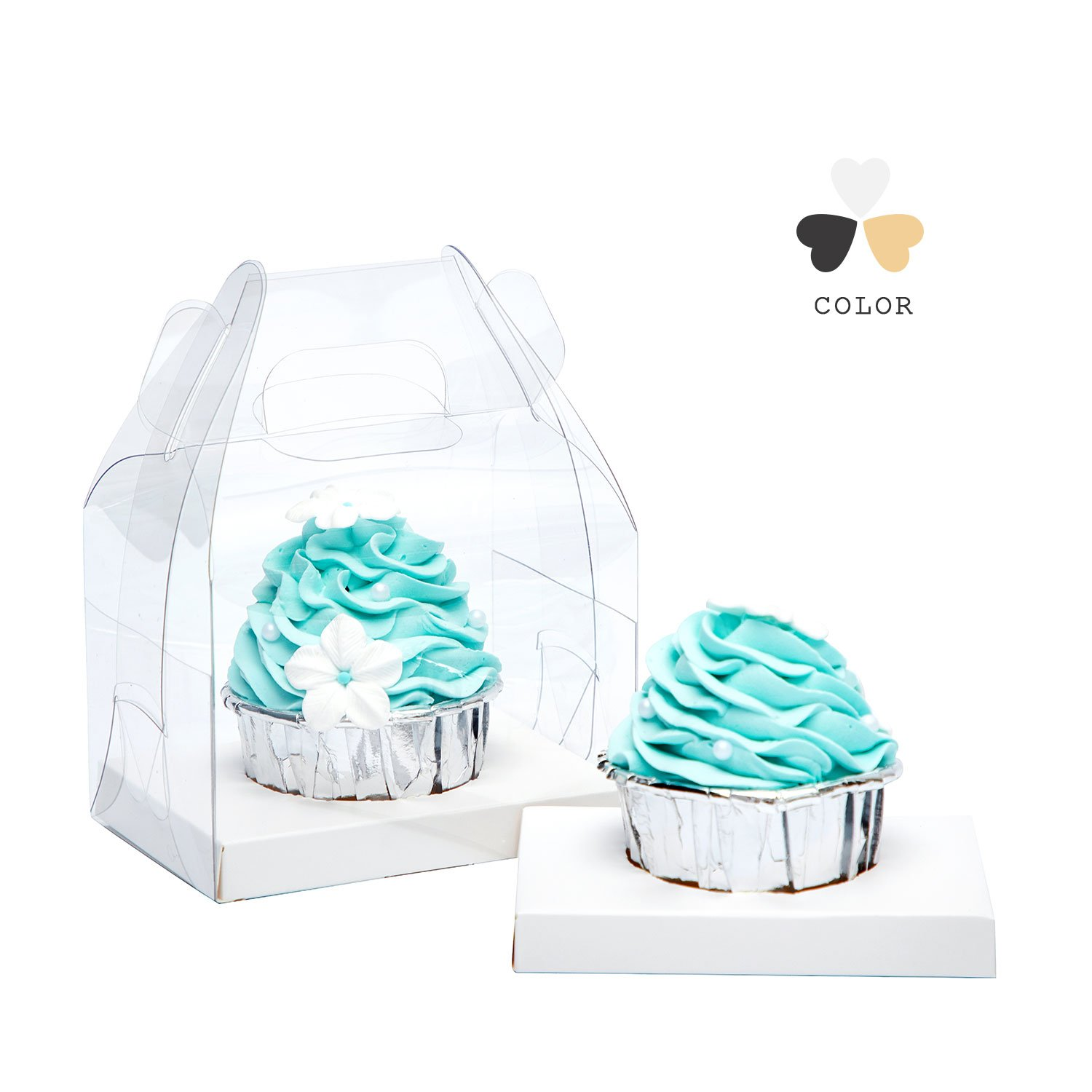 Yotruth Clear Single Cupcake Boxes With Handle and White Insert 20 Pack For Sweet Treat Box by yotruth (Image #8)