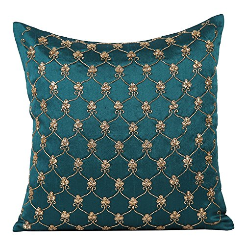 The White Petals Dark Teal Beaded Pillow Cover, Lattice Pattern (Dark Teal-Gold & Silver, 12x12 inches) ()