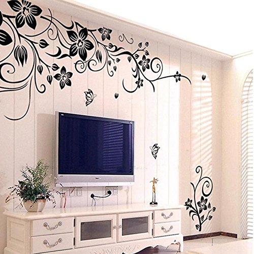 Elegant Blume Rebe Schmetterling Vinyl Abnehmbare Wandtattoo Wandaufkleber für Wohnzimmer Schlafzimmer Dekoration (Schwarz)