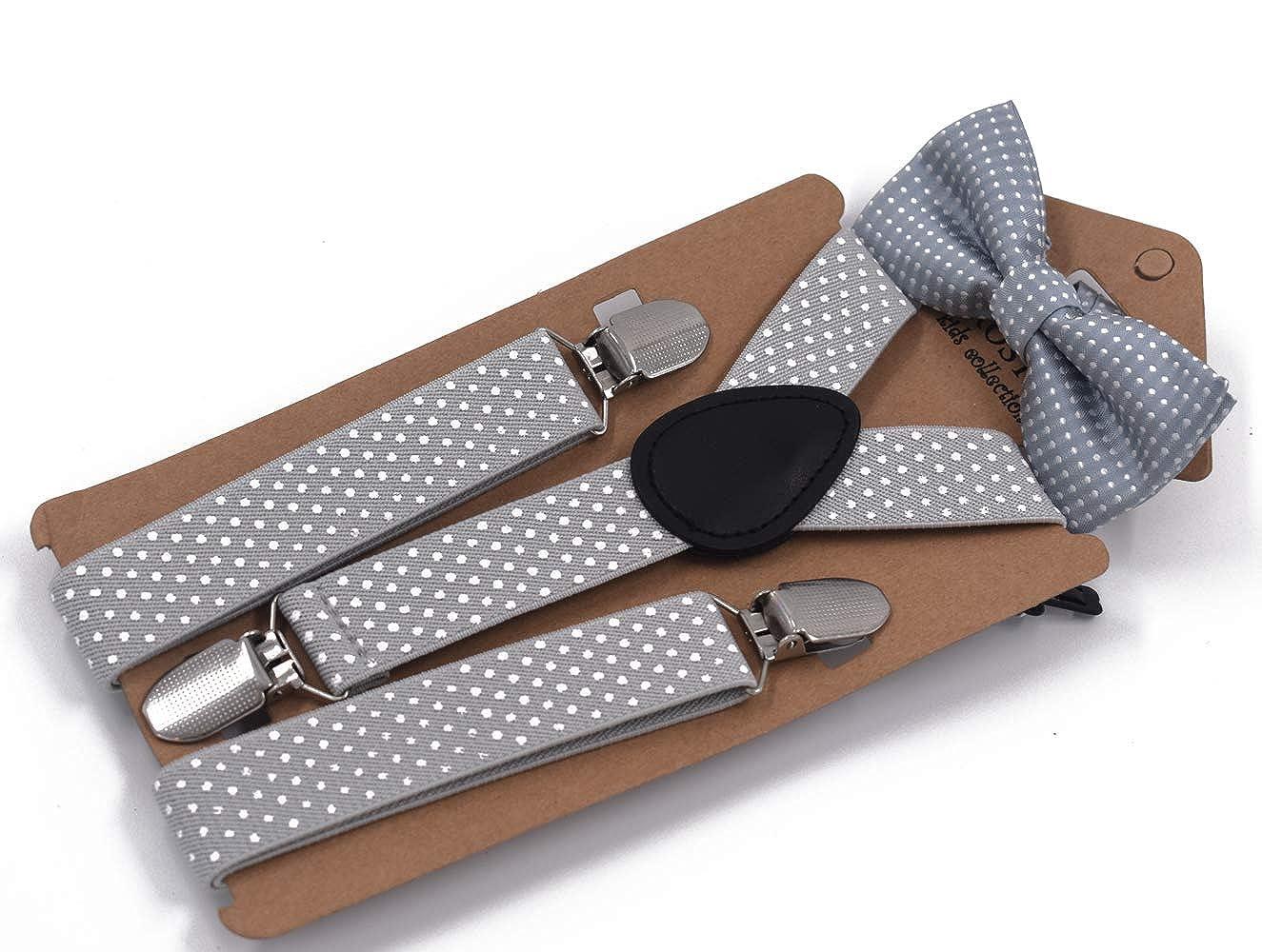 Adjustable Suspender Set for Boys Donald Home Child Kids Polka Dot Suspender Bowtie Set