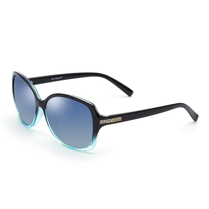 JIM HALO Gafas de Sol Gradiente Polarizadas Oversized de Moda Rhinestone Embellecer Mujer(Negro Azul
