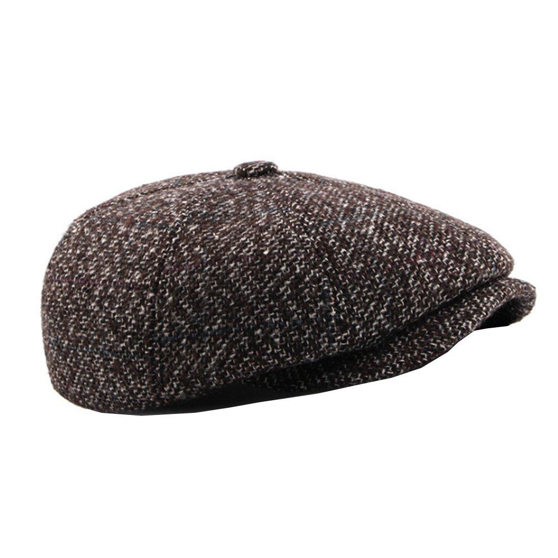 ACVIP Men's 8 Panels Newsboy Cap Cabbie Hat with Ear Flap YG12968-1