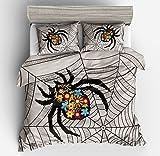 Gorgeous Spider Web Cobweb Cotton Microfiber 3pc 80''x90'' Bedding Quilt Duvet Cover Sets 2 Pillow Cases Full Size