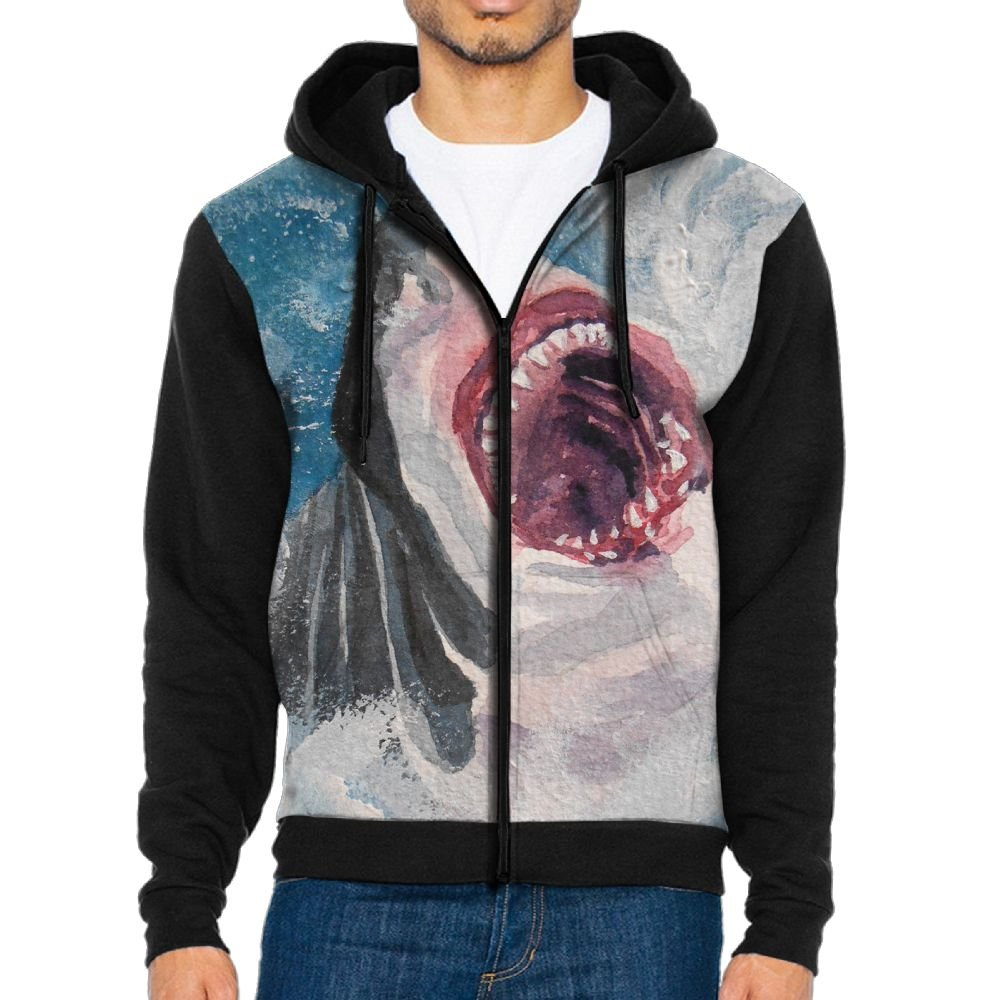 Shenghong Lin Great White Shark Design Mens Black Hoodie Sweatshirt Sportswear Jackets With Hoodies