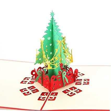 Amazon Com Aukuzi Christmas Tree Card 3d Birthday Pop Up Greeting