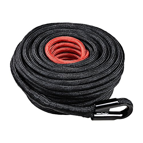 "Astra Depot 85ft x 3/8"" Synthetic Winch Rope Line Cable 20500LBs with All Heat Rock Guard Recovery 4x4 Truck Boat"