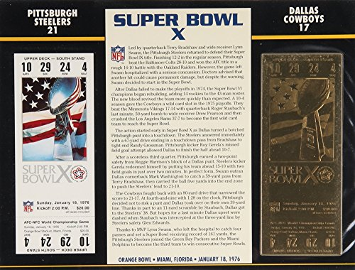 Commemorative Super Bowl X Score Card With 22kt Gold Ticket: Pittsburgh Steelers vs. Dallas Cowboys Commemorative Dallas Cowboys Super Bowl