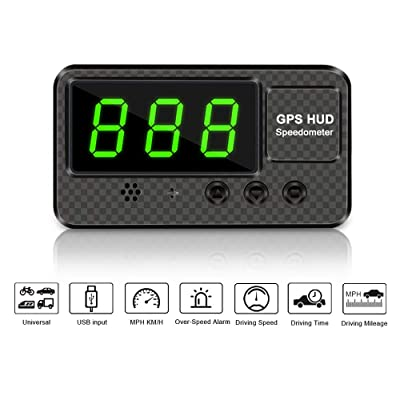VJOYCAR C60s Digital GPS Speedometer Car Hud Head Up Display with Speeding Alert Fatigue Alarm, 100% Universal for Vehicle Truck Motorcycle SUV Pick-up Scooter and All: GPS & Navigation