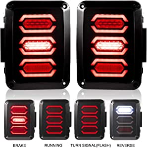 Liteway Jeep Wrangler Tail Lights LED Smoked Diamond Style for 07-18 Jeep JK Brake Reverse Turn Lamp Daytime Running Trun Signal Light, 1 Year Warranty