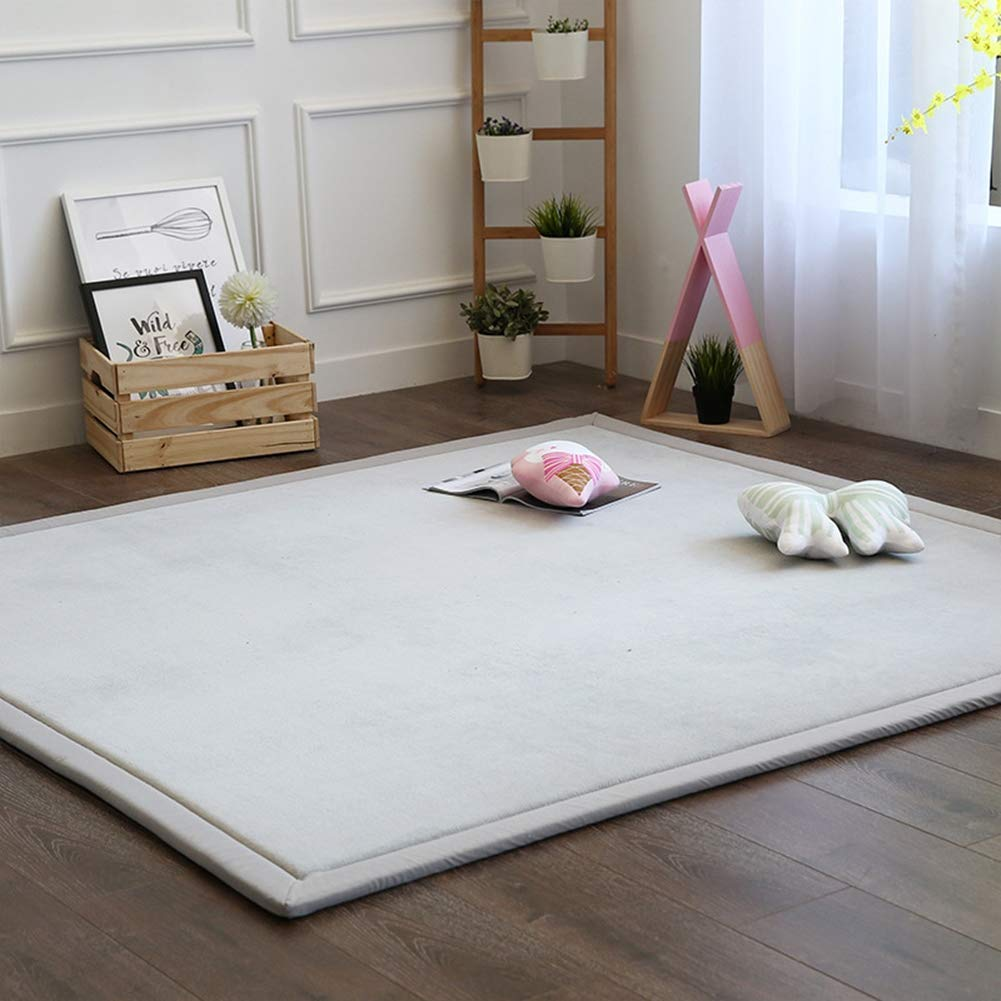 Babys Bedroom Light Grey 100 x 100 cm Blivener Coral Velvet Tatami Rugs Children Play Mat Thick Soft Nursery Rug Protect Carpets Crawling Mat for Living Room