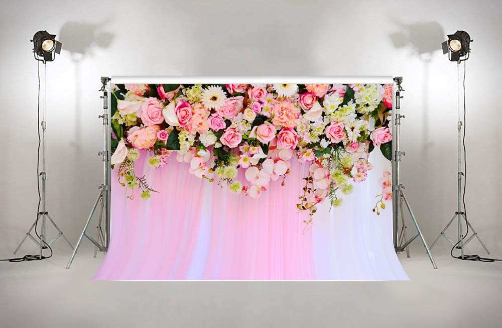 6.5x5ft 3D Blooming Roses Flower Wall Backdrops Church Event Wedding Wallpaper Bridal Shower Valentines Day Backgrounds Birthday Party Portrait Bright Pink Floral Mural Posters W-2100