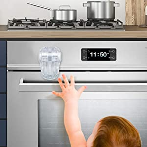 EUDEMON Child Safety Heat-Resistant Oven Door Lock, Oven Front Lock for Kids Easy to Install, Use 3M Adhesive,No Screws or Drill (Clear-White)