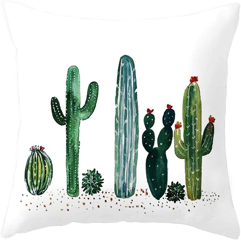 Throw Pillow Covers Succulent Plants Cactus Decor Super Soft Home Decorative Throw Pillow Case Cushion Cover for Sofa Couch 18 x 18 Inches (Cactus03)