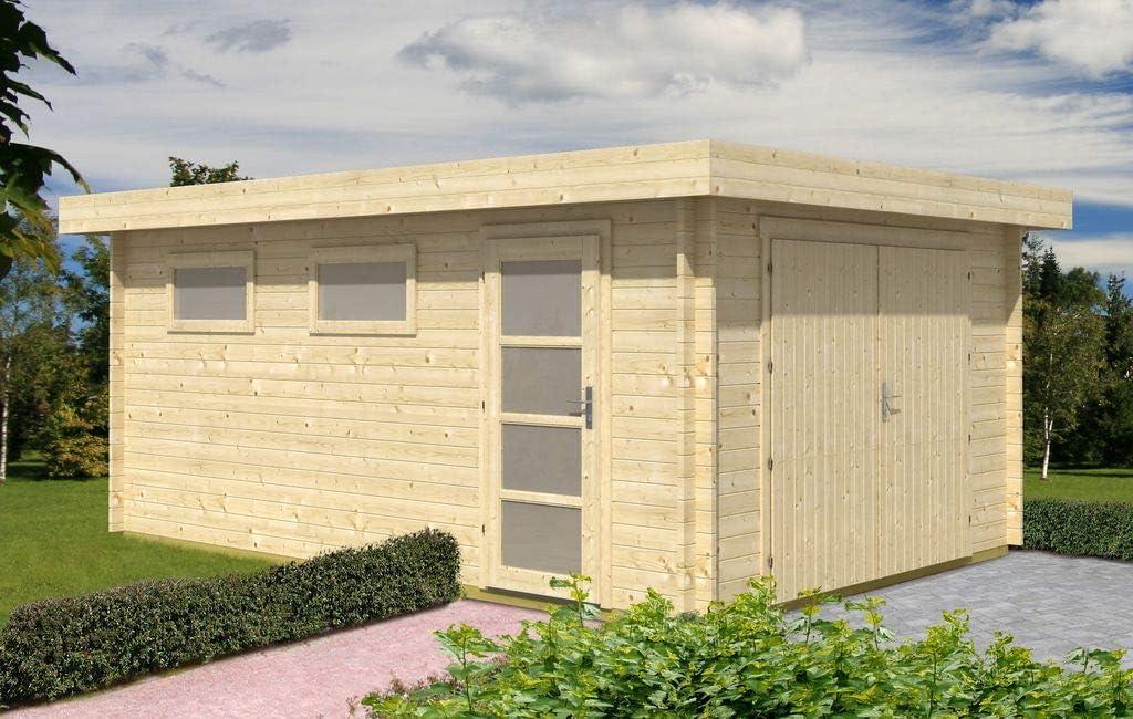 Alpholz C-70 ISO - Garaje de madera con tejado plano (grosor de la pared de 70 mm, 380 x 568 cm): Amazon.es: Jardín