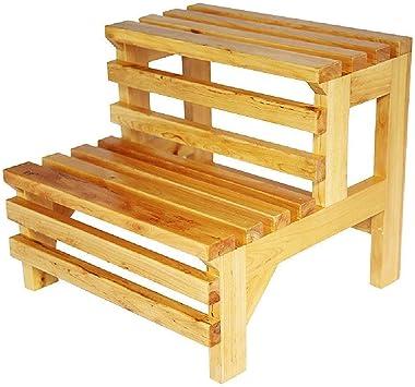 ZXPzZ Silla Taburete Escalera De 2 Peldaños Banco Escalera De Baño Escalera De Baño Bañera Taburete De Doble Pie Escalera De Madera Maciza: Amazon.es: Bricolaje y herramientas