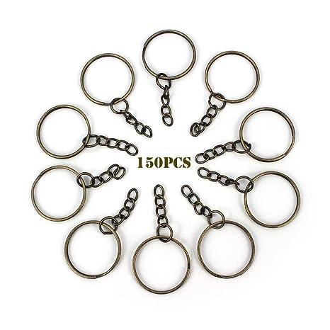 RUBY - 150 Anillas para llavero con cadena, bases de llaveros para artesanía (Bronce, Ø 25mm)
