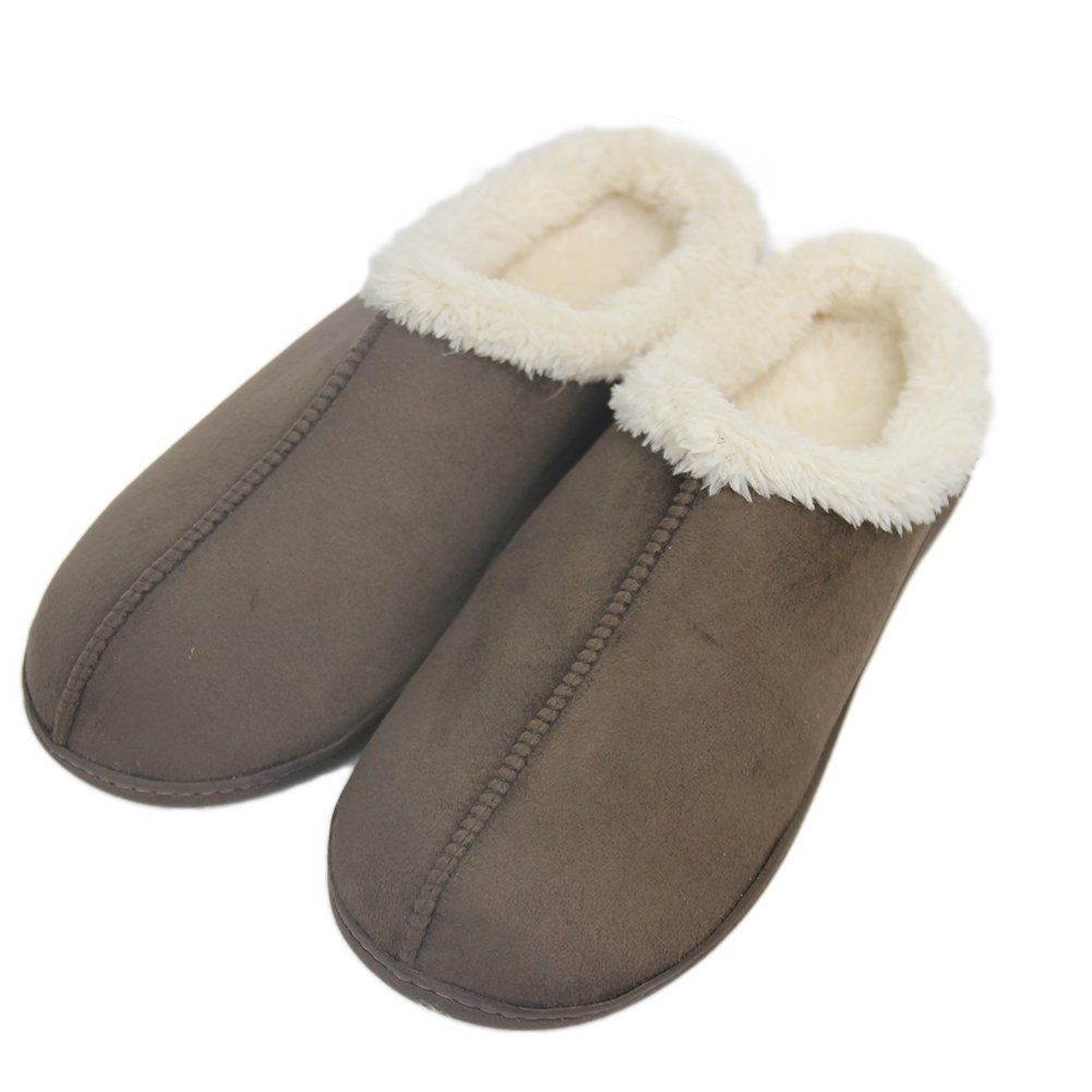 Home Slipper Men's Comfortable Short Plush Lined Soft Sole Closed-Toe House Slippers,US 8/9 Saddle Brown by Home Slipper (Image #2)