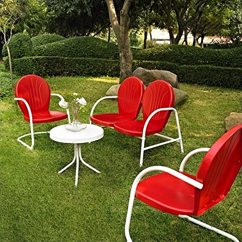 Crosley Furniture Griffith 4-Piece Metal Outdoor Conversation Set with Table, Loveseat, and 2 Chairs – Red