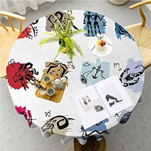 JKTOWN Zodiac Kitchen Household Tablecloth Premium Polyester Table Cover 55 inch Twelve Symbol of The Signs with Brushstrokes Effect Birth Calendar Horoscope Decor Multicolor