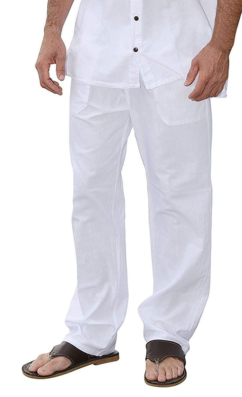 M&B USA Cotton White Pants Summer Beach Elastic Waistband Casual Pants (Medium, White)