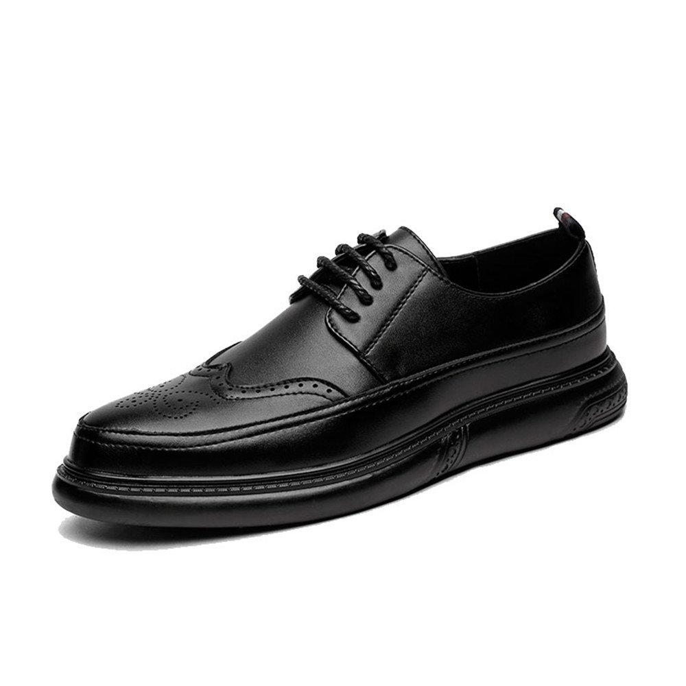 Zapatos Oxford de Punta Estrecha en Punta para Hombres Zapatos Tipo Casuales de Cordones de Brogue para Hombres 38 EU Negro