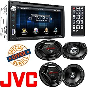 "Soundstream Double DIN Multimedia Source Unit with 6.5″ LCD Touch Screen/Bluetooth (2) JVC 6.5"" 300w Car Audio Speakers+(2) 6x9"" 1000w Speakers"