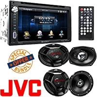 Soundstream Double DIN Multimedia Source Unit with 6.5″ LCD Touch Screen/Bluetooth (2) JVC 6.5 300w Car Audio Speakers+(2) 6x9 1000w Speakers