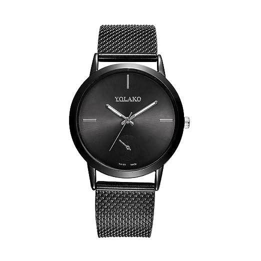 Kinlene Relojes Mujer,de moda Acero Inoxidable Analógico Cuarzo Reloj (Black)