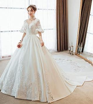 WFL Satén Vestido de Novia Novia Qi Corte de Cola Larga Princesa sueño Mujeres Embarazadas Palabra