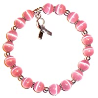 Hidden Hollow Beads Cancer Awareness Stretchy Bracelet.925 Sterling Silver, Strong...