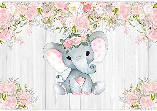 Amazon Com Allenjoy 7x5ft Rustic Floral Elephant Backdrop For Baby Shower Party Pink Flower Wood It S A Girl Banner Birthday Photography Background Cake Table Decoration Photo Booth Studio Props Favors Supplies