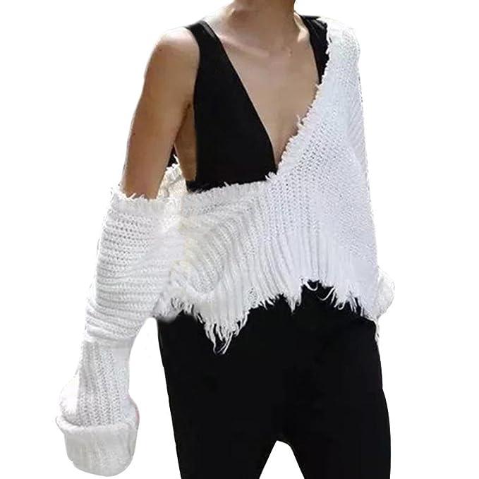Vovotrade Mujer Otoño invierno Cuello en V Casual Manga larga tejido de punto Suéter Oblicuo Tops