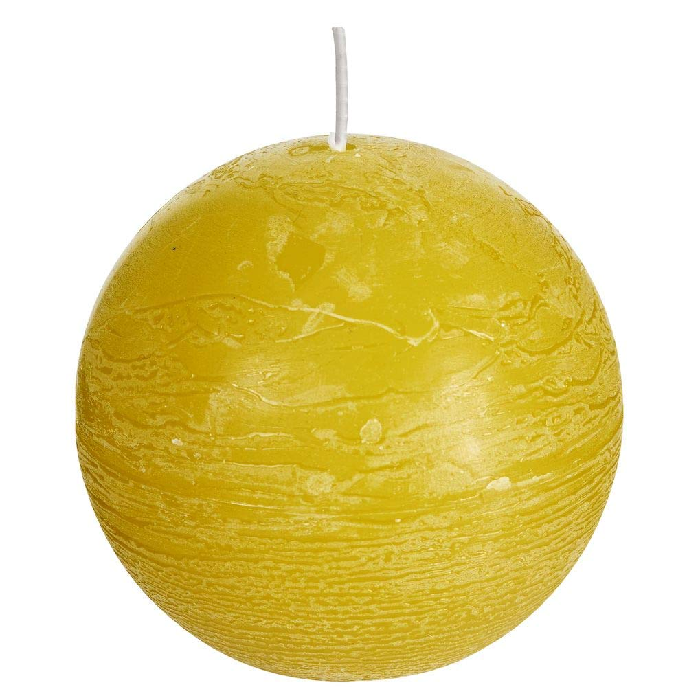 Spaas 6 Rustic Unscented Ball Candles, Paraffin Wax Autumn Yellow, D x H 100 mm