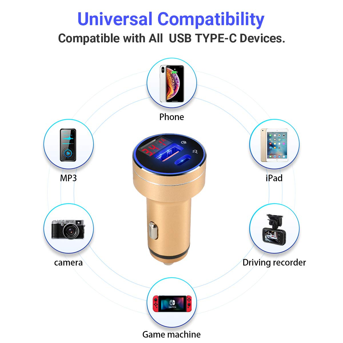 USB Type C Car Charger,Quick Charge 3.0 Adapter,45w 3.4A 2-Port with LED Compact Car Charger,Compatible with iPhone Xs\Max\XR Ipad Pro\Mini,Samsuny Galsxy Note9 and More.