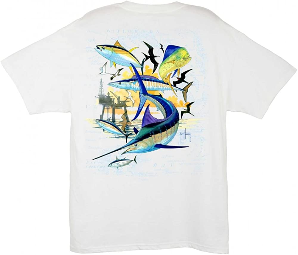 Guy Harvey Oil Rig Collage T-Shirt - White - XL