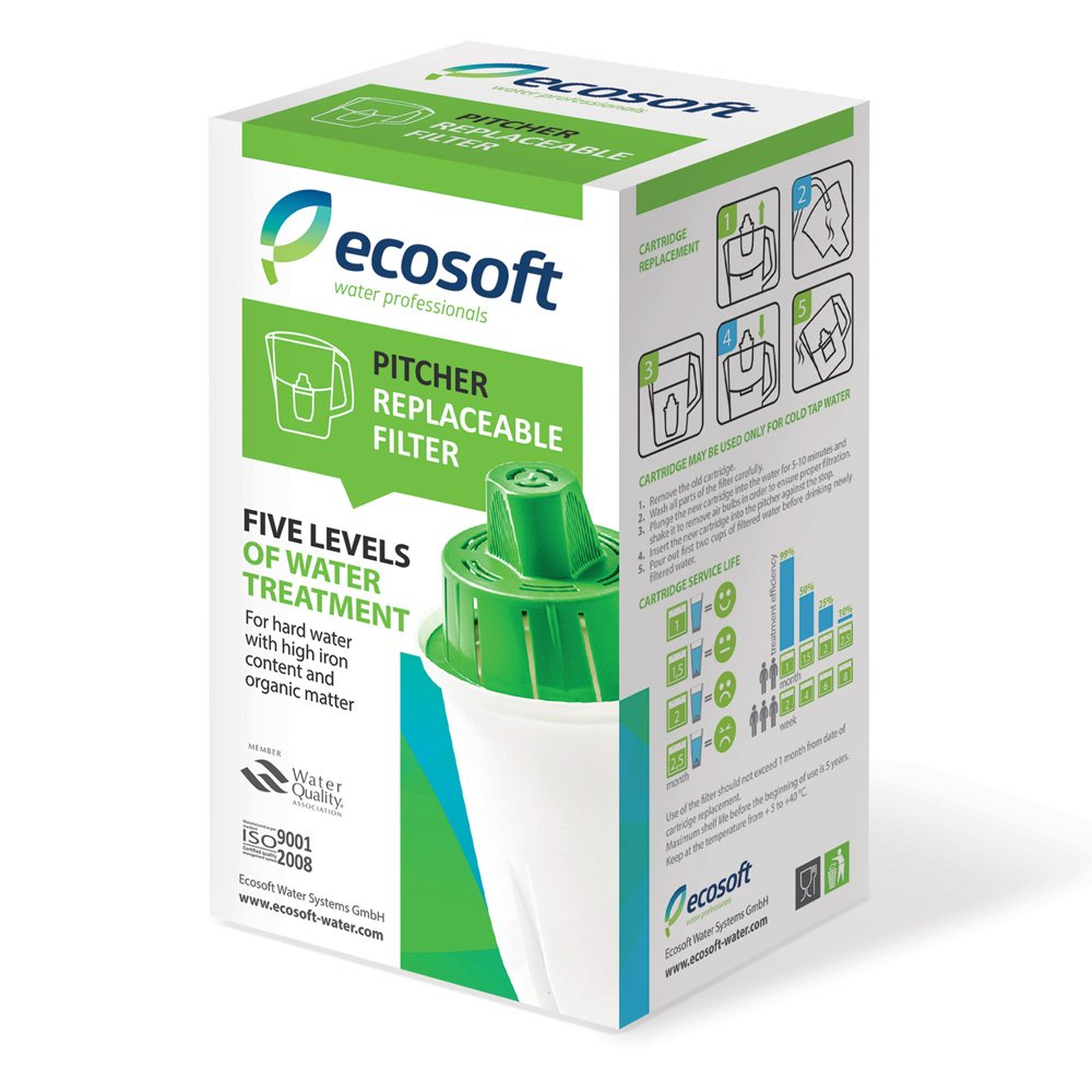 Ecosoft Water Filter Pitcher Jug Replacements - BPA Free - Cartridges for Long Lasting Home Kitchen & Office Filtration (1 Pack)
