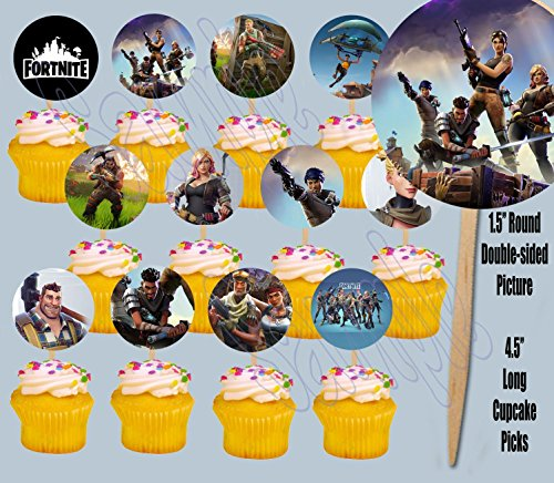 Price comparison product image FORTNITE Cupcake Picks Double-sided Images Cake Topper -12,  Video Game Truck Party