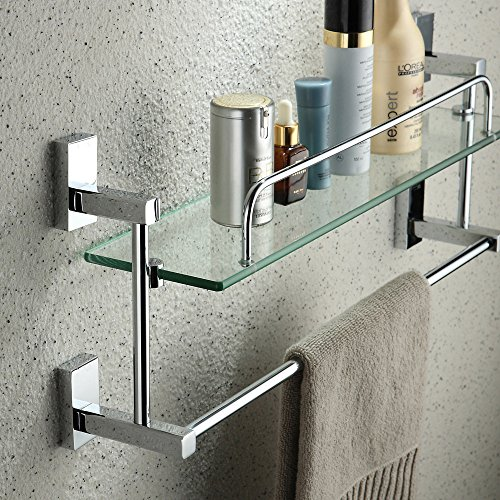YUTU JL01 Chrome Solid Brass Cosmetic Holder Shelf with Towel Bar Rctangular Bathroom Glass Rack Wall Mounted (Single Layer)
