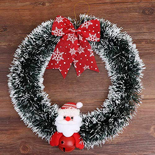 Aytai Christmas Wreath Merry Christmas Front Door Ornament with Red Bow and Santa Claus Bell, 12 inch]()