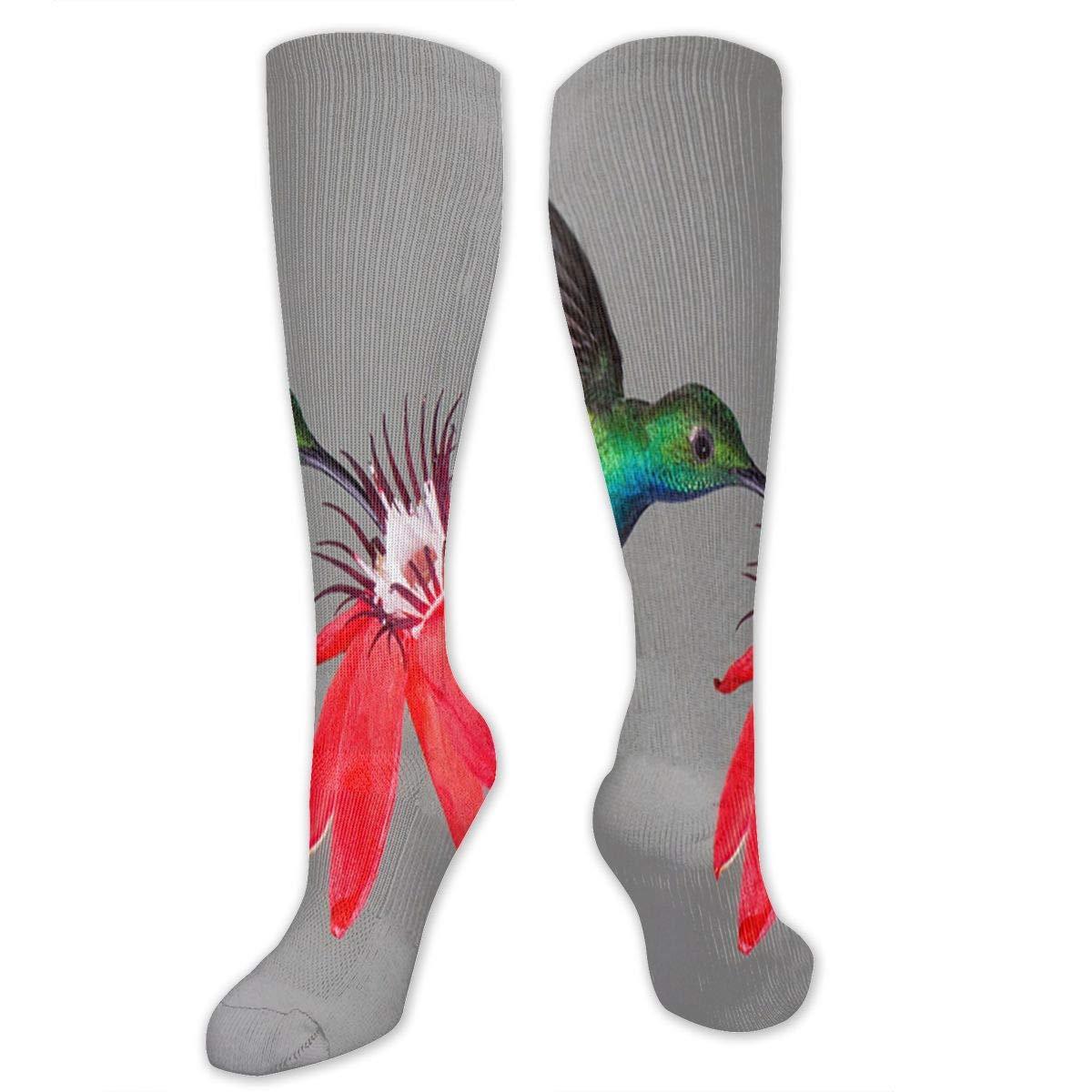 Stretch Socks Hummingbird Adn Red Flower Fantastic Winter Warmth for Women /& Men Athletic Sports