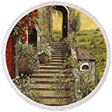 Pixels Round Beach Towel With Tassels featuring ''La Scala Grande'' by Guido Borelli