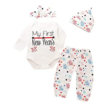 168186fd7cbb Newborn New Years 2019 Outfits for Baby Girls My First New Years 2019  Romper Bodysuit Firework ...