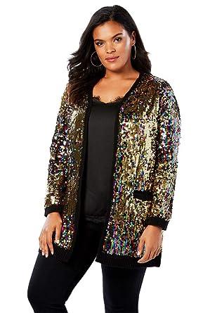 2be1077654b Roamans Women s Plus Size Multicolor Sequin Cardigan - Multi