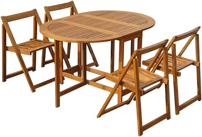 Festnight Set Tavolo Ovale E 4 Sedie Pieghevole Da Pranzo Da Giardino Esterno In Legno Massello