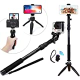 Premium HD RUGGED Selfie Stick + Tripod 3-in-1 Best Gift Pack – Universal: ANY iPhone, Android, GoPro or Camera – iPhone X 8 7 6 Plus, Samsung S8/S7 etc. + Bluetooth Remote