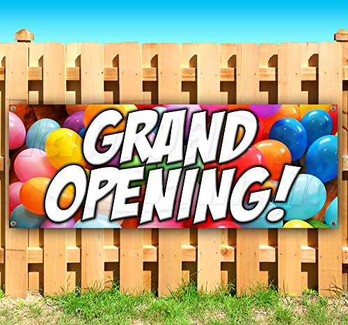 Grand Opening 13 oz Heavy Duty Vinyl Banner Sign with Metal Grommets, New, Store, Advertising, Flag, (Many Sizes Available)