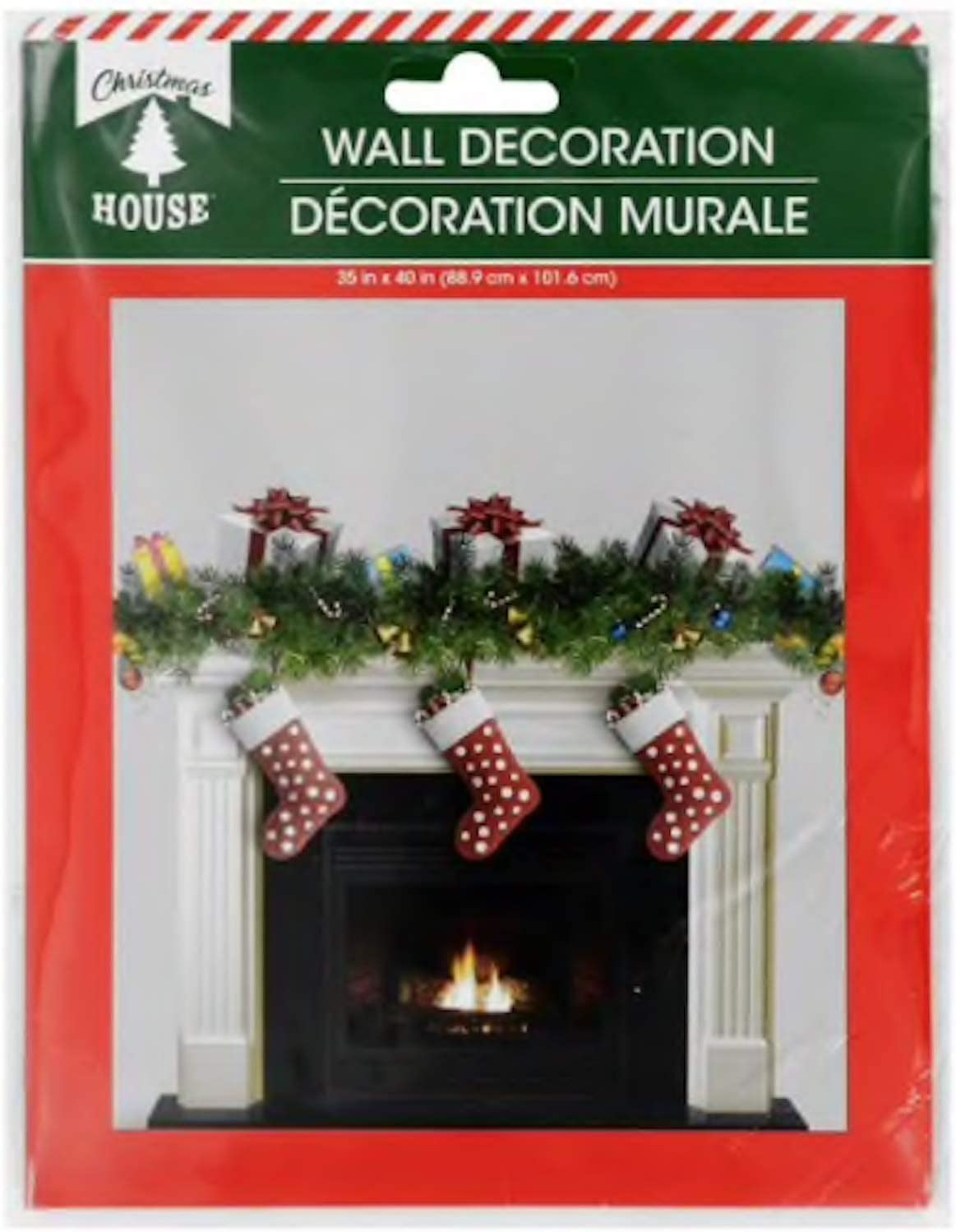 FIREPLACE STOCKINGS BACKDROP Christmas Party Decorations Holiday Wall Scene NEW
