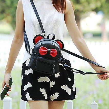 b06cff0be266 Sinwo Women Girl Cute Leather School Bag Backpack Satchel Bow Tie Trave Shoulder  Bag (Black